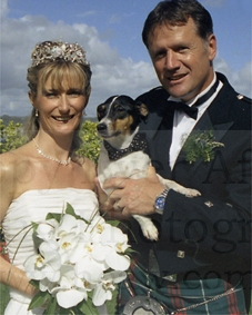 mummy daddy and biscuit, the dog with the bow tie, enjoy the sun wedding photography by patrick ellis swansea
